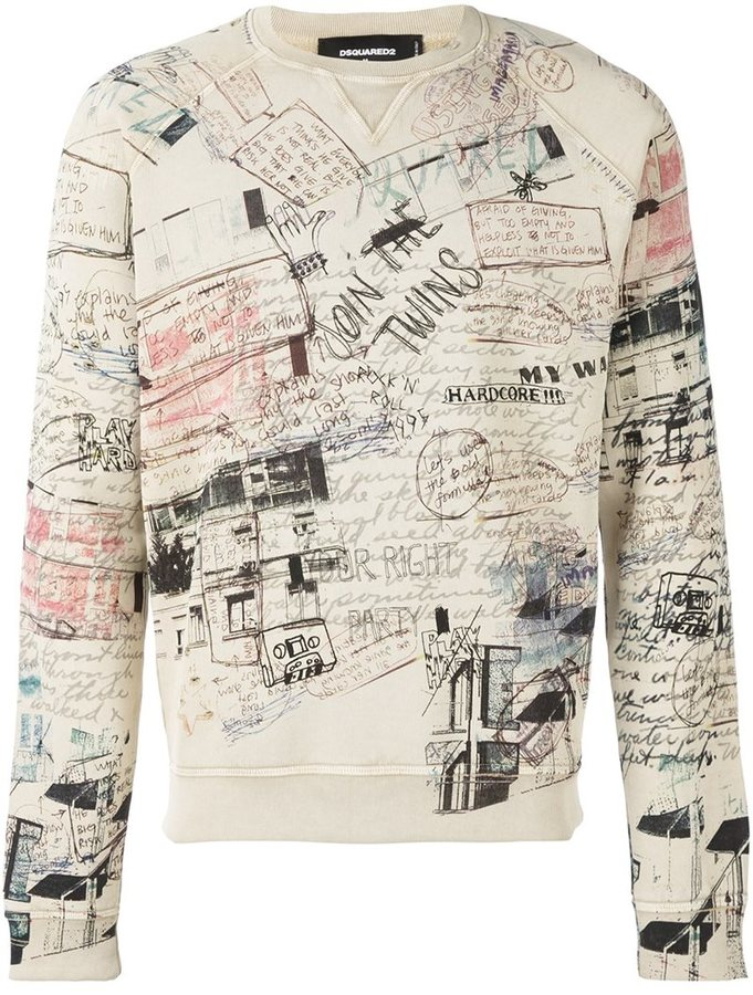 Dsquared2 all-over sketch sweatshirt