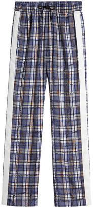 Burberry Stripe Detail Scribble Check Silk Tailored Track PantsStripe Detail Scribble Check Silk Tailored Track Pants