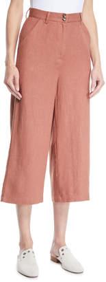 Moon River Cropped Wide-Leg Linen-Cotton Pants