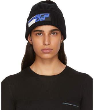 Prada Black Knit Logo Beanie