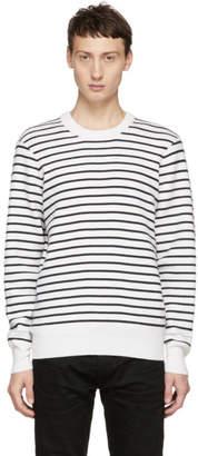 Rag & Bone White and Navy Striped Crewneck Sweater
