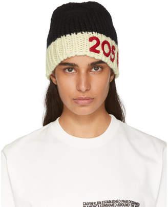 Calvin Klein Black and Off-White Logo Beanie