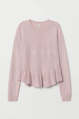 H&M Knit Sweater with Peplum - Pink