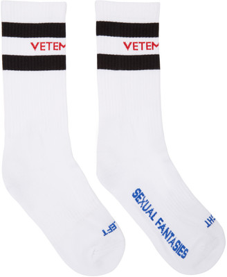 Vetements White 'Sexual Fantasies' Socks $95 thestylecure.com