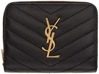 Saint Laurent Black Small Compact Zip Around Wallet