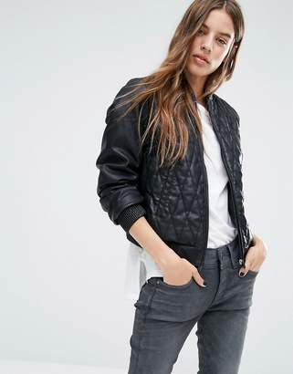 b029a367da1c G Star G-Star Leather Look Quilted Bomber Jacket
