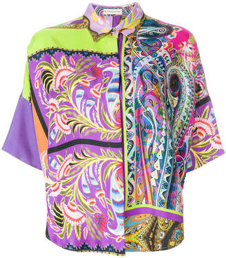 Etro shortsleeve printed collared shirt