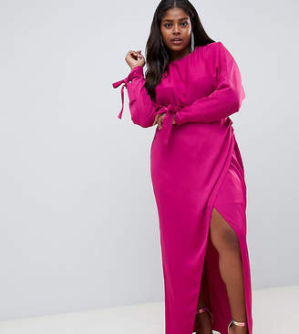 Asos DESIGN Curve satin batwing sleeve maxi dress