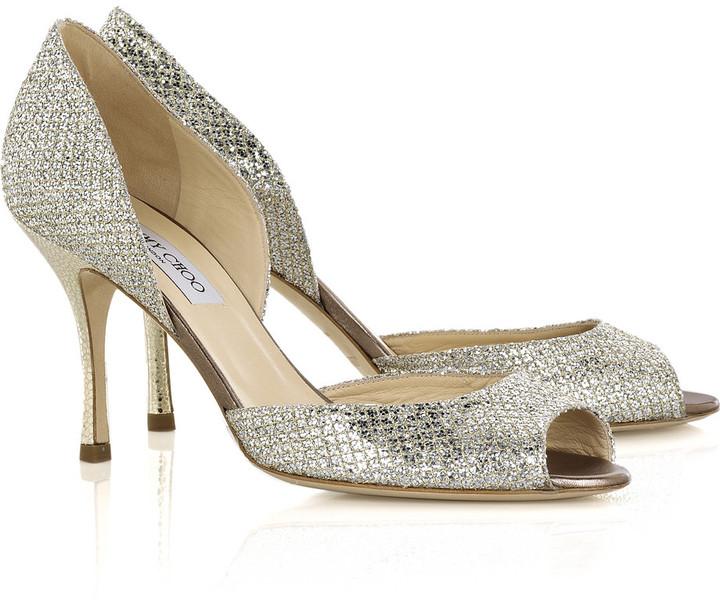Jimmy Choo Logan glitter peep-toe sandals