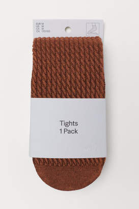 H&M Textured-knit Tights - Yellow