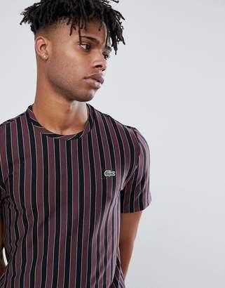 Lacoste Live L!VE bowling stripe t-shirt in black