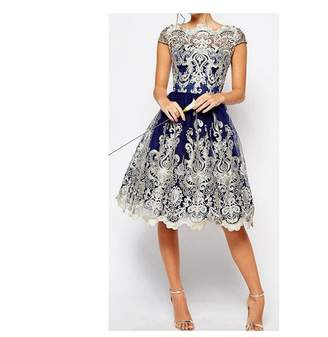 Mywine Vintage Summer Retro Dress for Women Hollow Out with Lace Party Wedding