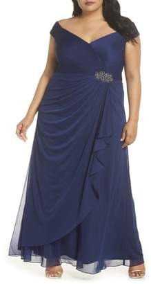 Alex Evenings Embellished Pleat Gown (Plus Size)