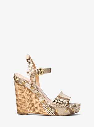MICHAEL Michael Kors Ellen Embossed Leather Wedge