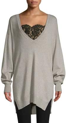 Joie Irita Lace Trim Longline Sweater
