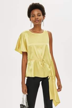 Topshop Womens Satin Asymmetric Blouse - Chartreuse