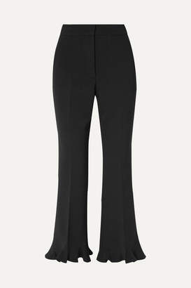 Stella McCartney Cropped Ruffled Wool-blend Flared Pants - Black