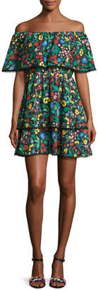 Alice + Olivia Tylie Floral-Print Off-the-Shoulder Ruffle Mini Dress, Multicolor $350 thestylecure.com
