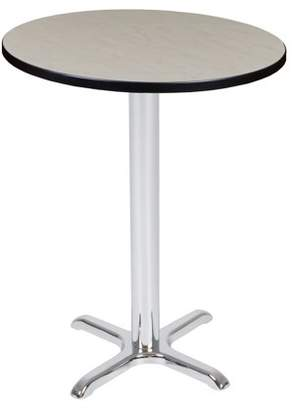 "Regency Via Cafe High 30"" Round X-Base Table- Maple/Chrome"
