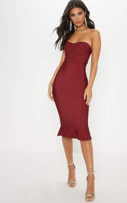 PrettyLittleThing Dark Red Frill Hem Bandage Midi Dress