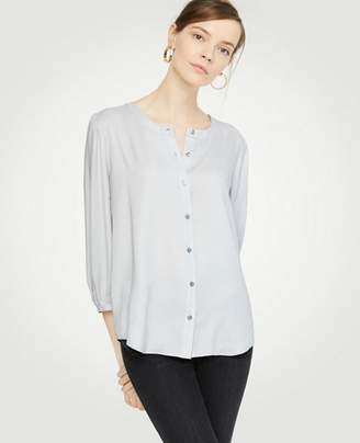 Ann Taylor Collarless Button Down Blouse