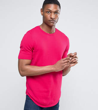 Asos DESIGN TALL Longline Knitted T-Shirt with Curved Hem in Raspberry