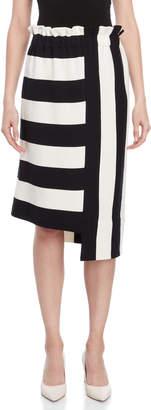 Liviana Conti Striped Asymmetrical High-Waisted Skirt