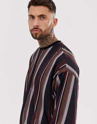 Asos Design DESIGN oversized vertical striped long sleeve t-shirt
