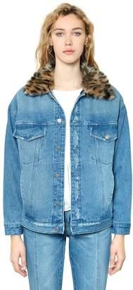 SteveJ & YoniP Steve J & Yoni P Leopard Faux Fur & Cotton Denim Jacket