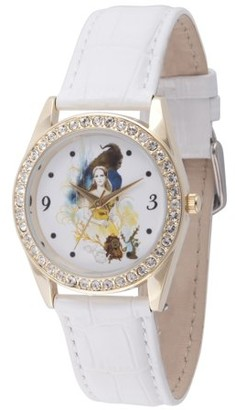 Disney Beauty and the Beast Women's Gold Alloy Glitz Watch, White Leather Strap