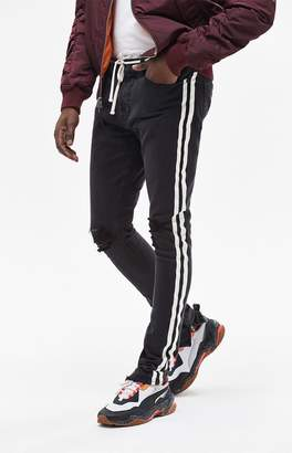 PacSun Stacked Skinny Side Stripe Zip Black Jeans