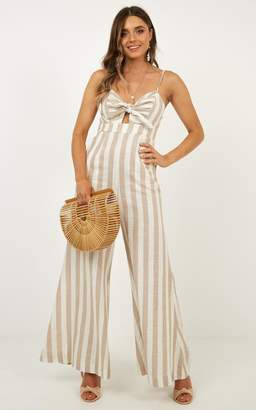 4ad3cca58c2 Showpo Heart Out Jumpsuit in beige stripe linen look Playsuits