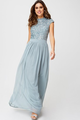 Little Mistress Outlet Luxury Michelle Cornflower Hand-Embellished Sequin Top Maxi Dress