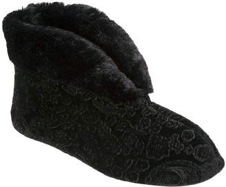 4b4bafbbae2a Dearfoams Embossed Velour Womens Memory Foam Bootie Slippers