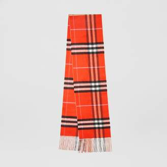 Burberry Long Reversible Colour Block Double-faced Cashmere Scarf, Orange