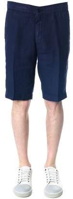 Z Zegna Blue Linen Bermuda Shorts