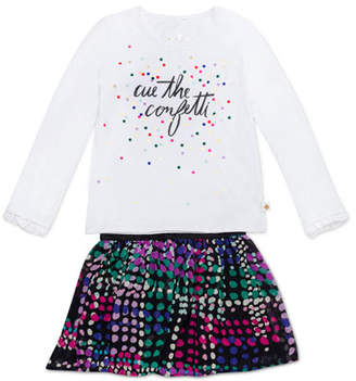 Kate Spade Cue The Confetti Top W/ Spot-Print Skirt, Size 12-24 Months