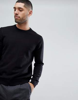 Paul Smith Crew Neck Waffle Knitted Sweater In Black