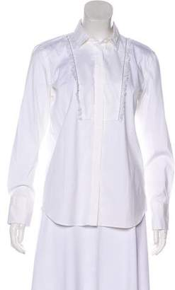 Brunello Cucinelli Monili-Trimmed Button-Up Top