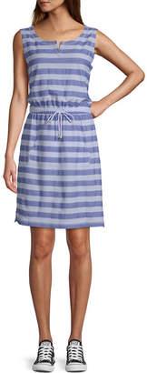 ST. JOHN'S BAY SJB ACTIVE Active Sleeveless Striped T-Shirt Dresses