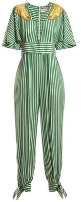 Adriana Degreas - Banana Applique Striped Jumpsuit - Womens - Green Stripe