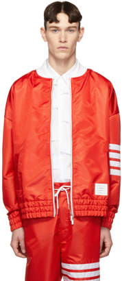 Thom Browne Red Ripstop Oversized 4-Bar Sailboat Bomber Jacket