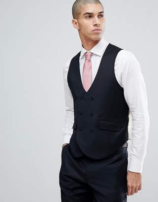 Blend of America ASOS DESIGN ASOS Wedding Slim Suit Vest In Navy Cashmere