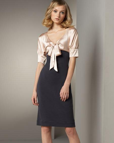 Diane von Furstenberg Satin-Bust Dress