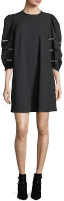 See by Chloe Opaque A-Line Mini Dress with Ladder-Stitched Balloon Sleeves