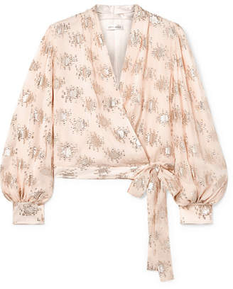 Stine Goya Glenda Metallic Fil Coupé Silk-blend Wrap Top - Blush