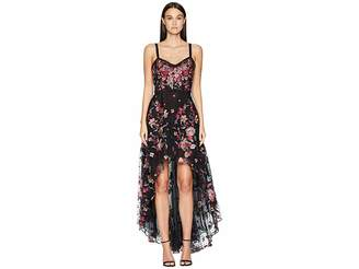 Marchesa Sleeveless High-Low Embroidered Flocked Tulle Gown with Corset