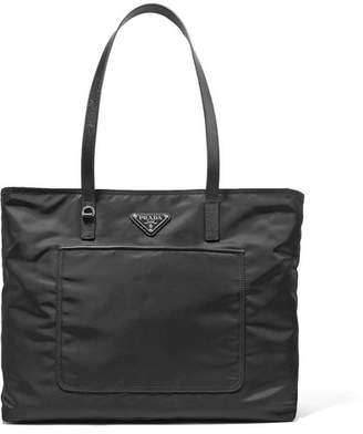 Prada Vela Leather-trimmed Shell Tote - Black