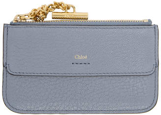 Chloé Blue Drew Zip Card Holder