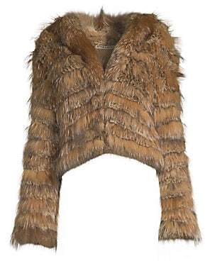 Alice + Olivia Women's Nadia Tiered Hooded Rabbit Fur Coat